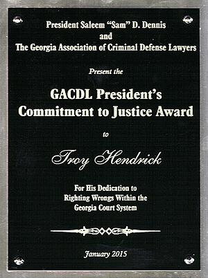 Troy Hendrick GACDL award